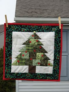 Another quilted Christmas tree wall hanging I made!