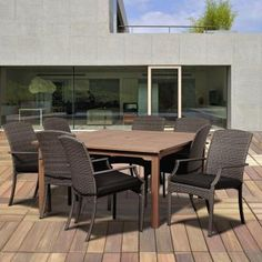 $1800 Amazonia Dale 9-Piece Eucalyptus Square Patio Dining Set with Grey Cushions-BT 426_8SANI GR - The Home Depot