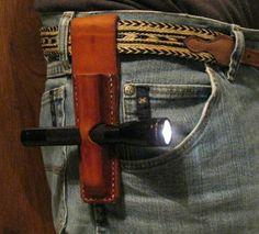 Leather Flashlight Pouch Sheath.