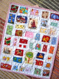 story book ticker tape quilt...I think this would make a cute doll quilt.