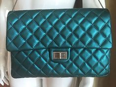 Authentic-CHANEL-Metallic-Turquoise-LEATHER-2-55-Classic-Flap-BAG-Clutch