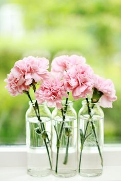 "ANJERS _ Carnations are affordable, they last forever and they are making a comeback - bring a big bouquet as hostess gift or a ""just because"" gift Carnation Centerpieces, Wedding Centerpieces, Wedding Decorations, Carnation Wedding Arrangements, Lemon Centerpieces, Vases En Verre Transparent, Happy Sunday Morning, Pink Carnations, Just Because Gifts"