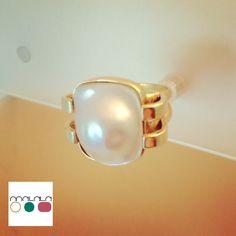 Anillo de oro y #perla cultivada
