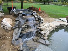 Process chiller water treatment-utilize a chemical water treatment specialist-Chardon Labs Small Backyard Ponds, Backyard Water Feature, Small Ponds, Backyard Ideas, Garden Ideas, Pond Landscaping, Landscaping With Rocks, Pond Construction, Building A Pond