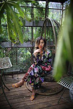 Louise Xin - Louise Xin Silk Clutch Bag, Zara Yellow Heels, H&M Kimono - Secret garden Yellow Heels, Vintage Leather Jacket, Copenhagen Fashion Week, Gypsy Style, Red Lips, Fashion Pants, Daydream, Clutch Bag, Stylists