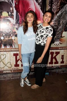 Alia Bhatt and Parineeti Chopra at the screening of Ki and Ka. #Bollywood #Fashion #Style #Beauty #Hot