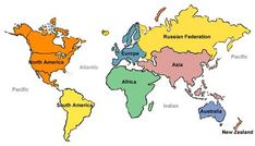 labeled world map | Map of the World