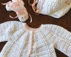 Baby shower gift,layette crochet sweater set, many colors, Christening/Newborn/Soft Paton's Beehive Yarn/Baby Shower gift Crochet Stars, Hand Crochet, Crochet Baby, Sweater Set, Long Sleeve Sweater, Baby Bunting Bag, Baby Layette, Crochet Buttons, Baby Christening