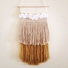 weaving wall hanging / white gold / hand woven tapestry wall hanging textile art