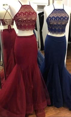2018 two piece long prom dresses, burgundy mermaid long prom dresses, navy blue long prom dresses, straps party dresses