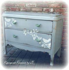 SOLD SOLD Distressed Antique dresser, shabby chic dresser, stenciled dresser, 2 drawer dresser, Rustic dresser, gray dresser by RepurposedbyM on Etsy https://www.etsy.com/listing/230740929/sold-sold-distressed-antique-dresser
