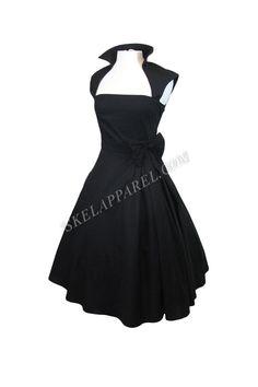 Rockabilly Vintage Design Black Belted Party Dress