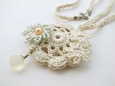 Irish Crochet Lace Jewelry Bronwyn I Pendant by dorischi4229, $30.00