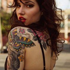 Butterfly, flower, rose, body tattoo on TattooChief.com