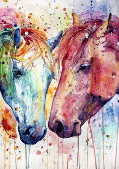 Drawing animals horses watercolor painting Ideas for 2019 Watercolor Horse, Watercolor Animals, Watercolor Paintings, Watercolor Ideas, Cross Paintings, Animal Paintings, Horse Drawings, Art Drawings, Pintura Graffiti