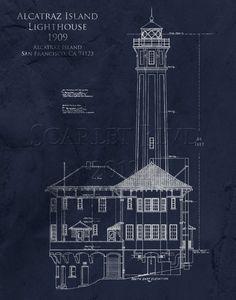 Architectural Blueprint Art Print - Alcatraz Lighthouse - 8 x 10. $25.00, via Etsy.