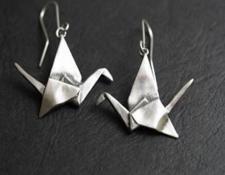 RF351  Origami Crane Earrings. Origami, Papiroflexia. Plata, silver.