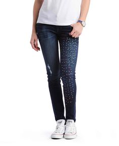 Flag Embroidered Skinny Jeans