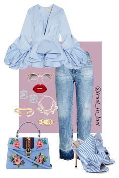 """""""Spring Blues"""" by smackthatash ❤ liked on Polyvore featuring AG Adriano Goldschmied, Johanna Ortiz, N°21, Gucci, Jimmy Choo, Effy Jewelry, Lime Crime, Kendra Scott and Michael Kors"""