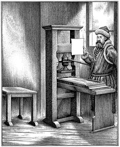 The metallurgical work and mechanization of modular, movable type of Johannes Gutenberg would later be applied to budding technologies aimed at mass production during the Industrial Revolution (roughly Johannes Gutenberg, Gelli Plate Printing, Printing Press, Scientific Revolution, Protestant Reformation, Ink Pen Drawings, Home Of The Brave, Industrial Revolution, Gravure
