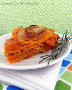 Upside Down Sweet Potato and Onion Tart...  A crustless sweet potato tart with onions, rosemary and cheddar cheese.