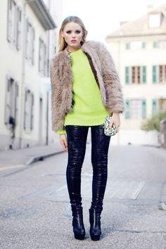 fashion - street style, winter looks, neon tricô, lima
