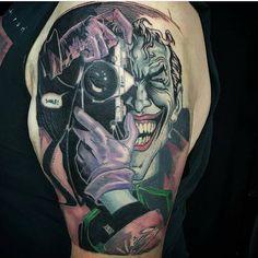 #mulpix Smile! @myidiothearttattoos recreates the Joker!   #smile  #joker  #dc  #comics  #batman  #tattoo  #texasinked  #magazine  #inked  #art  #nerd  #