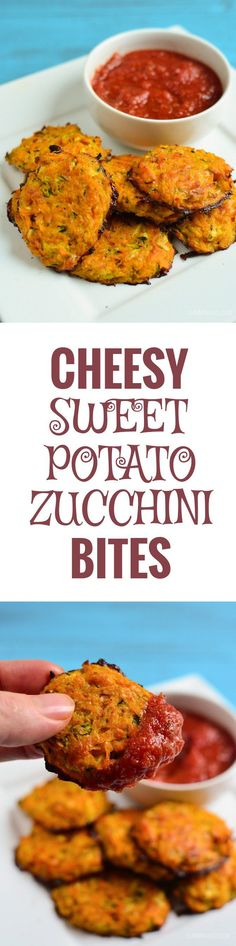 Slimming Eats Cheesy Sweet Potato and Zucchini Bites - gluten free, vegetarian, Slimming World and Weight Watchers friendly paleo dinner sweet potato Vegetarian Sweets, Vegetarian Cooking, Vegetarian Recipes, Healthy Recipes, Healthy Snacks, Fodmap Recipes, Quick Recipes, Greek Recipes, Veggie Recipes