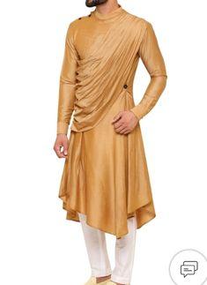 Buy Draped asymmetric hem kurta with pants by Amaare at Aza Fashions Best Indian Wedding Dresses, Sherwani For Men Wedding, Indian Groom Wear, Indian Attire, Boys Kurta Design, Mens Ethnic Wear, Gents Kurta, Kurta Men, Kurta Style