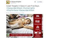 Hamas tweet:  Hamas tries to sway public opinion with images of injured Palestinians