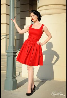 Laura Byrnes Lana Dress in Red Canvas