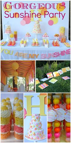"What  gorgeous ""You are my Sunshine"" girl birthday party ideas, including the dessert table, birthday cake, and party decor. See more party ideas at CatchMyParty.com."