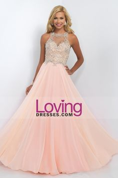 2016 Scoop A Line Prom Dresses Chiffon With Beading Floor Length