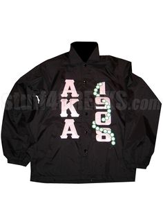 BLACK LINE JACKET WITH ALPHA KAPPA ALPHA LETTERS AND 1908 WITH PEARLS  Item Id: PRE-XJ-AKA1908PRLS    Price: $119.00