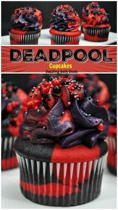Deadpool Cupcakes - This easy recipe will be easy to recreate, perfect for birthday parties cupcakes anniversaire decoration licorne noël recette recipes cupcakes Birthday Cupcakes, Birthday Parties, 30th Birthday, Deadpool Cake, Deadpool Tattoo, Superhero Cake, Adult Superhero Party, Vanilla Cake Mixes, Cupcake Cakes