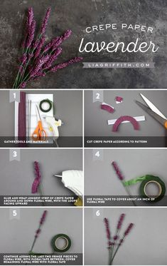 With this latest DIY project, make a few sprigs of some crepe paper lavender to dress up your home! So simple and pretty as can be!