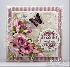 card flowers butterfly vintage romantic shabby chic