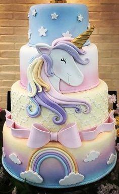 Rapunzel Birthday Cake, Mary Birthday, Candy Birthday Cakes, Cookie Cake Birthday, Birthday Cake Girls, Princess Birthday, Unicorn Birthday, Unicorn Cake Design, Unicorn Cake Topper