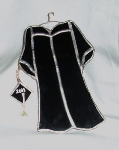 2012 Black Graduation Gown Stained Glass by smashingglass on Etsy, $23.00