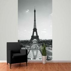 1 WALL GIANT PHOTO WALLPAPER PARIS EIFFEL TOWER GREYSCALE POSTER MURAL 232x158cm
