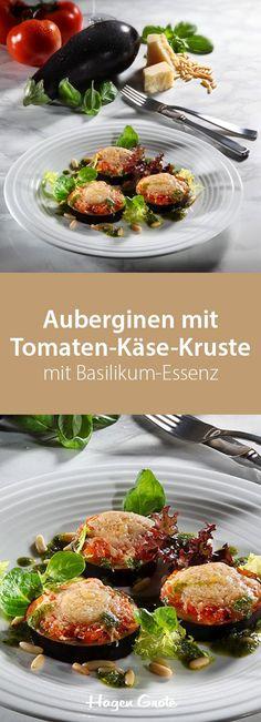 Auberginen mit Tomaten-Käse-Kruste mit Basilikum-Essenz