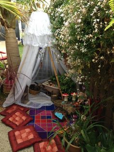Fairy play provocation at Puzzles Family Day Care ≈≈ For more inspiring pins: http://www.pinterest.com/kinderooacademy/provocations-inspiring-classrooms/