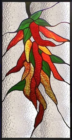stained glass chili pepper window panel