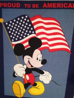PATRIOTIC MICKEY MOUSE Fabric - Disney Proud to be American Quilt Wall Hanging Panel