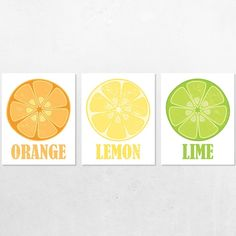 Orange Lemon Lime Vintage Style Kitchen Poster Prints (Set of 3). Decorate your walls with affordable art poster prints. This Set of 3 features our original illustration of orange, lemon and lime slices. An instant gallery wall. Numerous sizes to suit your needs - from 5x7 inches to 13x19 inches. Not framed.