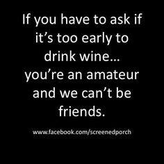 If you have to ask if it's too early to drink wine... you're an amateur and we can't be friends. #alcohol #drinking