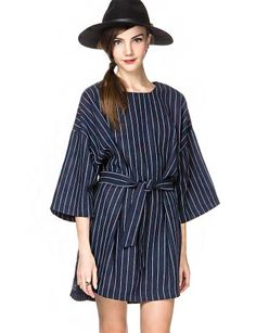 """Make this cool midnight blue oversize tee dress a staple in your closet, featuring white stripes all over and kimono style sleeves. It has side slits, and comes with detachable fabric belt. Unlined. This statement striped belted dress looks amazing with slouchy socks and ankle booties. *52""""/132cm bust*34""""/86cm front length*37""""/94cm back length*Measurements are taken from one size,*Model is wearing one size and model's height is 5'10""""/178cm."""