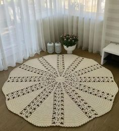 Doilies Crochet Table Runner Blue Carpet Crochet Blocks Crafts With Bottles Napkins Table Toppers Place Mats Crochet Mat, Crochet Motifs, Crochet Blocks, Crochet Round, Crochet Home, Filet Crochet, Crochet Doilies, Crochet Patterns, Knit Rug
