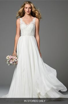 Main Image - Watters Stafford Silk Organza Gown (In Stores Only)