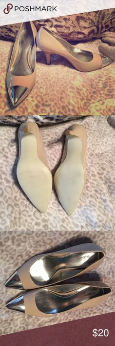 💗Just Reduced💗 Silver Toe Nude Heels Only worn once. For only an hour. Just too small for me. Style & Co Shoes Heels